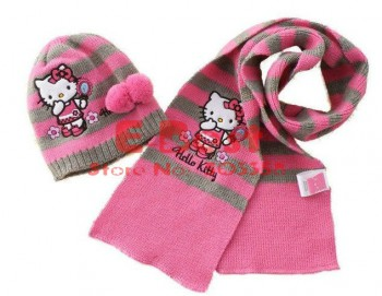 Free-Shipping-3sets-lot-Girl-Cute-Kitty-hat-sets-Pink-gray-striped-scarf-hat-2pcs-set.jpg